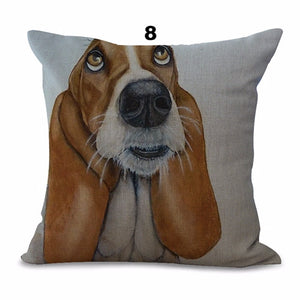 Collectible Basset Hound Painting Cushion Cover