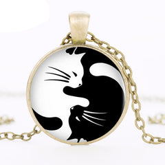 Vintage Yin Yang Cats Necklace