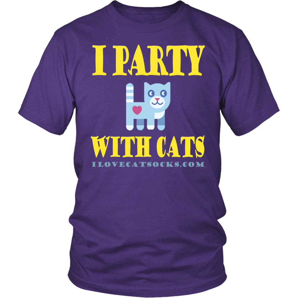 100% Cotton I Party With Cats T Shirt - I Love Cat Socks