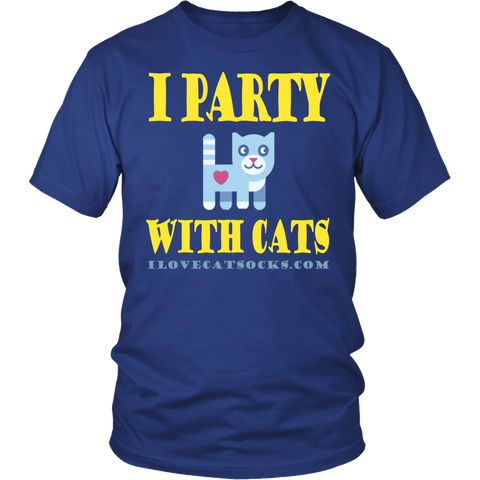 Image of 100% Cotton I Party With Cats T Shirt - I Love Cat Socks