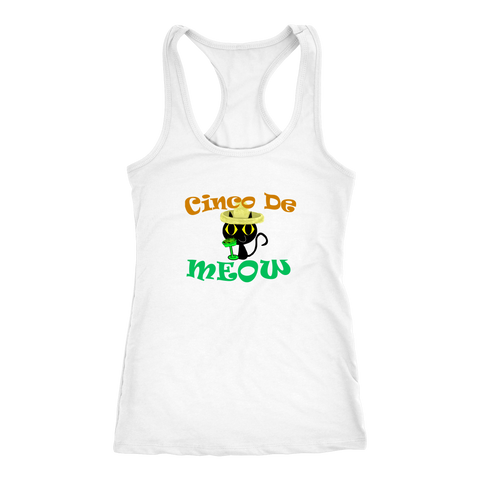Cinco De Meow SportBack Tank Top Shirt - I Love Cat Socks
