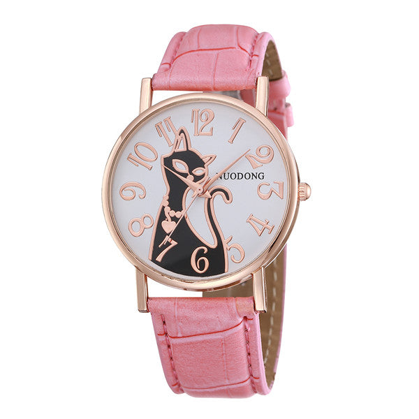Cat Leather Watch