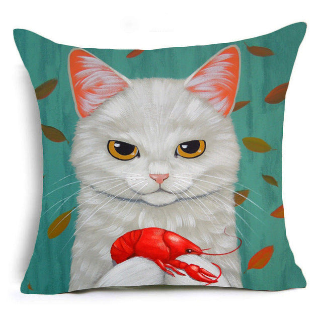 Cartoon Cat  Pillow Cover - I Love Cat Socks