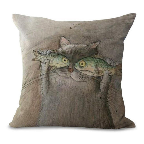 Image of Cat Printing Cushion Pillow Case - I Love Cat Socks