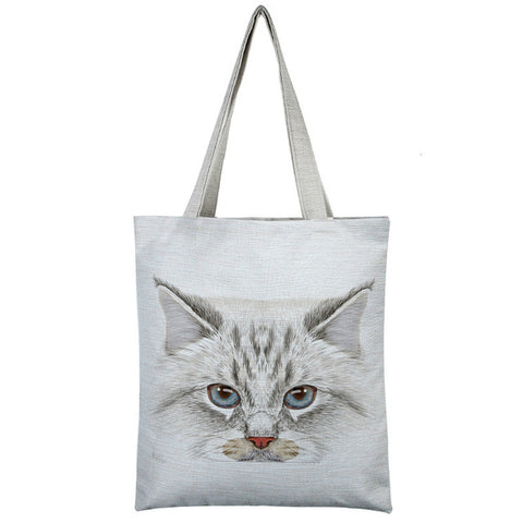 Image of Cat Printed Shoulder Bag - I Love Cat Socks