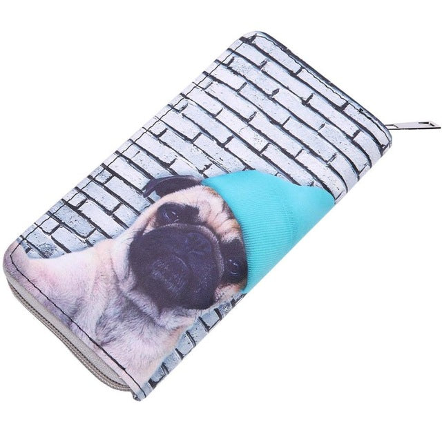 Cat and Dog Print Long Wallet