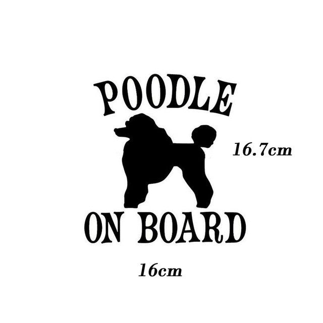 Poodle On Board Car Decal