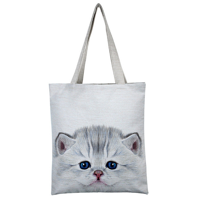 Cat Printed Shoulder Bag - I Love Cat Socks