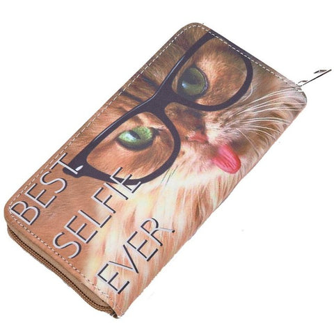 Image of Cat and Dog Print Long Wallet - I Love Cat Socks
