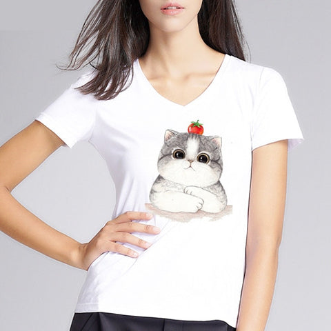 Image of Strawberry On Top Of A Kitten's Head Printed Shirt For Women