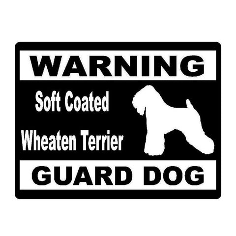 Image of Warning Soft Coated Wheaten Terrier Guard Dog Car Decal