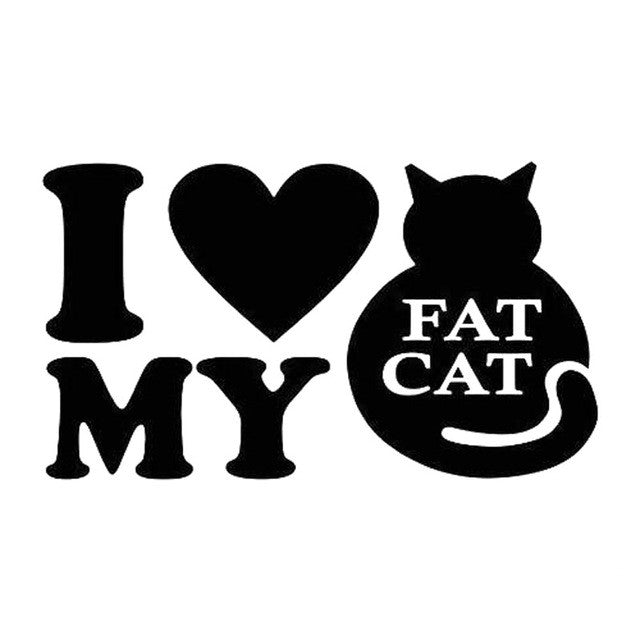 I Love My Fat Cat Car Decal