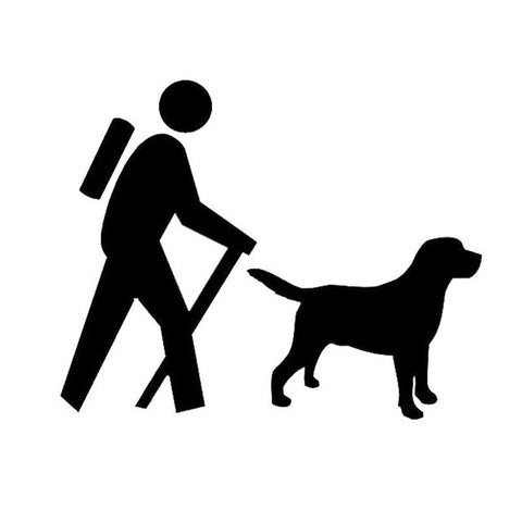 Image of Hiker and Labrador Retriever Car Decal
