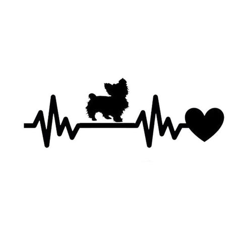 Image of Yorkie Heartbeat Car Decal