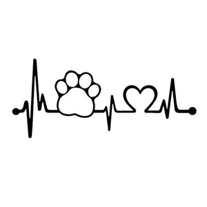 Dog Paw With A Heartbeat Car Decals