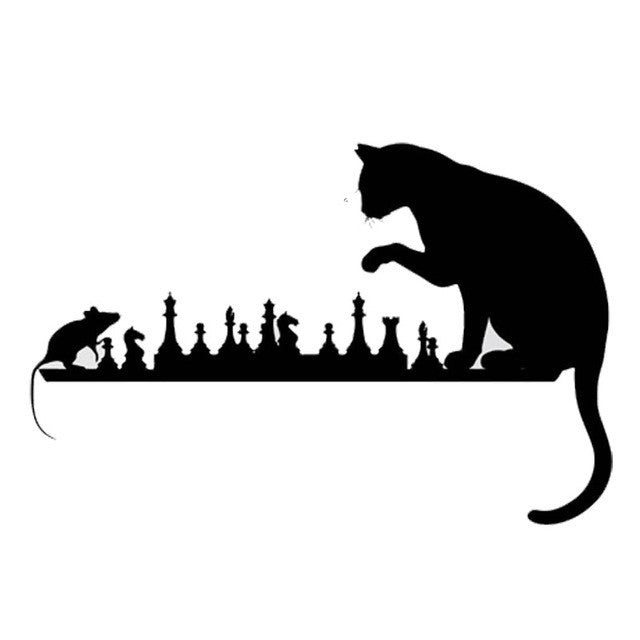 Cat Playing Chess With A mouse Car Decal - I Love Cat Socks
