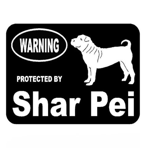 Warning Protected by Shar Pei Car Decal