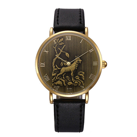 Men's Vintage Style Dog Pattern Wrist Watch