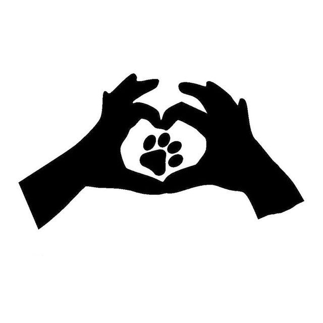Hands Heart Combination Paw Print Car Decal
