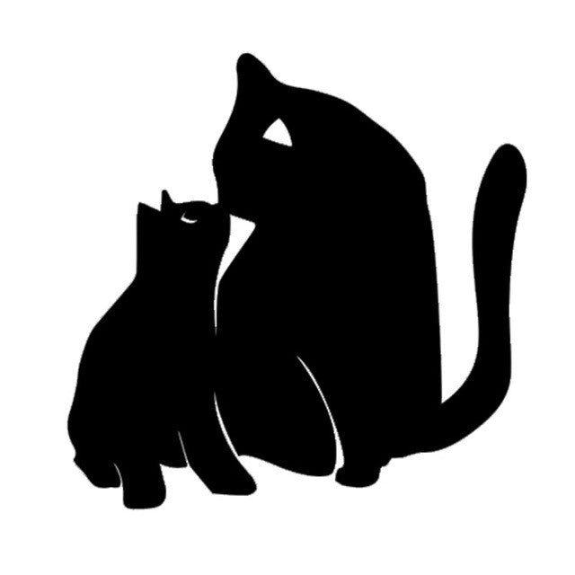 Cat Mom And Kitten Kiss Car Decal