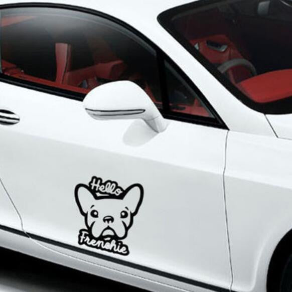 Hello Frenchie Dog Car Decal