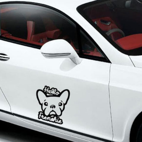 Image of Hello Frenchie Dog Car Decal