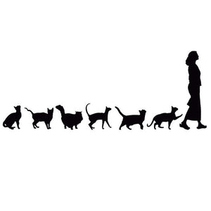 Cat Following Woman Car Decal