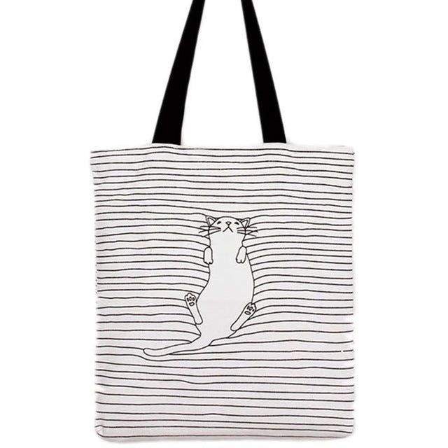 Cat Striped Shoulder Bag - I Love Cat Socks