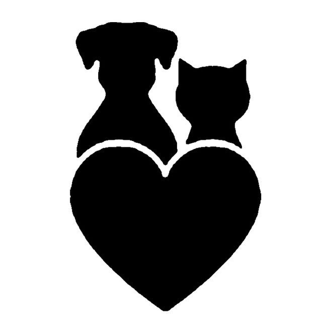 Cat And Dog Heart Combined Car Decal