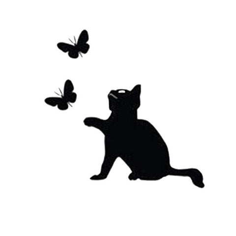 Cat Catching Butterflies  Car Decal - I Love Cat Socks