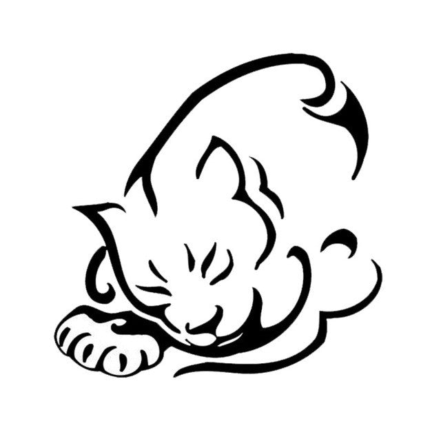 Sleeping Tribal Cat Car Decal