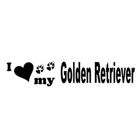 I Love my Golden Retriever Car Decal