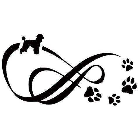 Poodle Dog Paw Print Car Decal