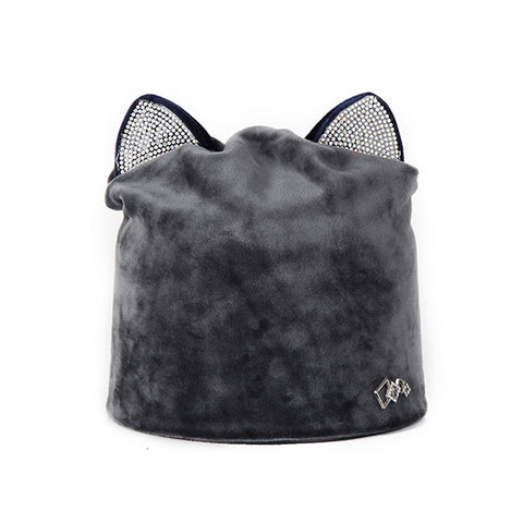 Image of Rhinestone Cat Ear Winter Beanie