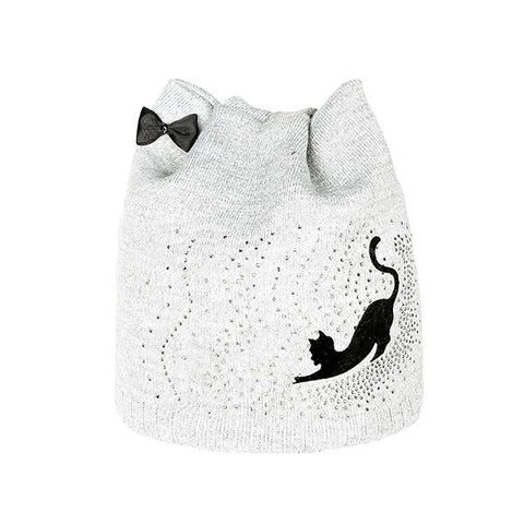 Bow-Knot Cut Cat Knitted Beanie - I Love Cat Socks