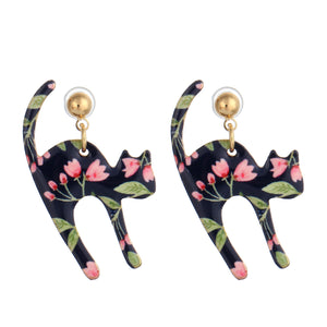 Printed Cat Earrings