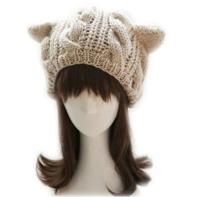 Image of Women's Knitted Cat Ear Cotton & Wool Hat