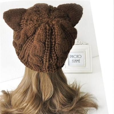Women's Knitted Cat Ear Cotton & Wool Hat