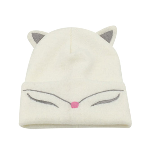 Image of Mom and Baby Knitted Cat Ear Cuff Beanie