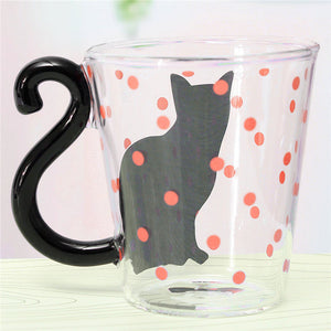 Cat Printed Glass Mug