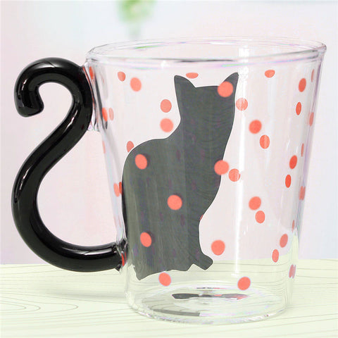 Cat Printed Glass Mug - I Love Cat Socks