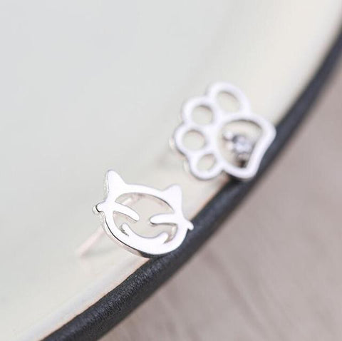 Cat Paw Print  Stud Earrings - I Love Cat Socks