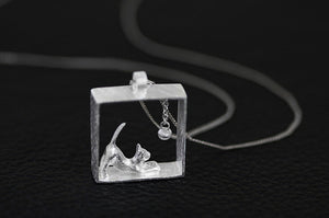 Cat In A Glass Box Necklace - I Love Cat Socks