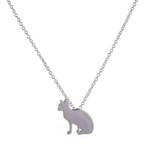 Gold or Silver Plated Cat Necklace with Chain