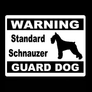 Warning Standard Schnauzer Guard Dog Car Decal