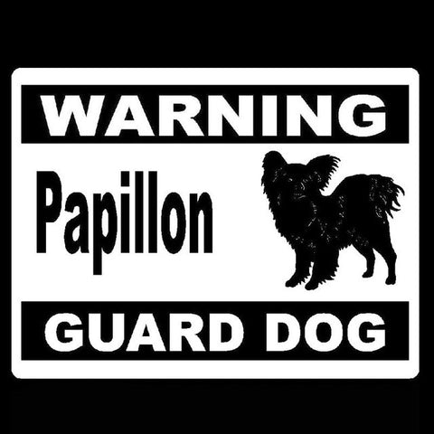Warning Papillon Guard Dog Car Decal