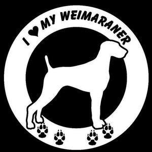 I Love My Weimaraner Car Decal