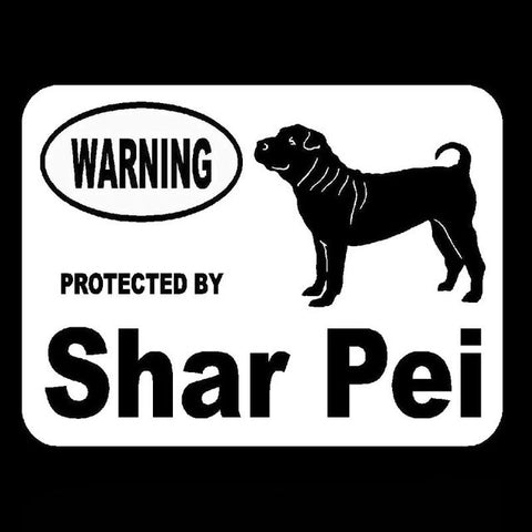 Image of Warning Protected by Shar Pei Car Decal