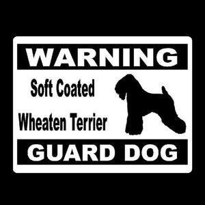 Warning Soft Coated Wheaten Terrier Guard Dog Car Decal