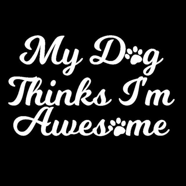 My Dog Thinks I'm Awesome Car Decal